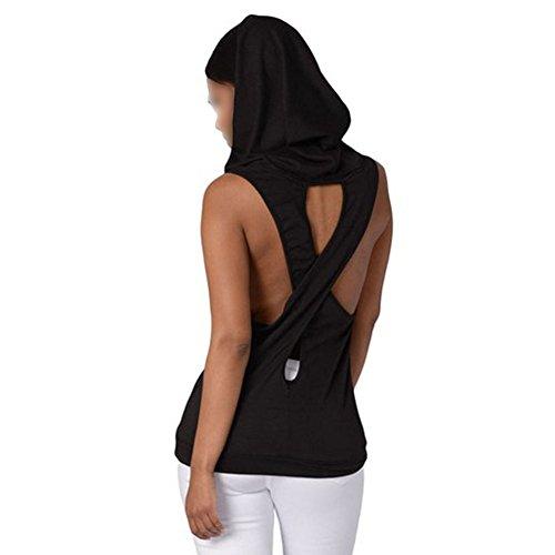 WEIMEITE Mujers Gym Soprt Tank Tops Chaleco de Yoga Fitness Backless Woman Cross Sport T-Shirt Negro S