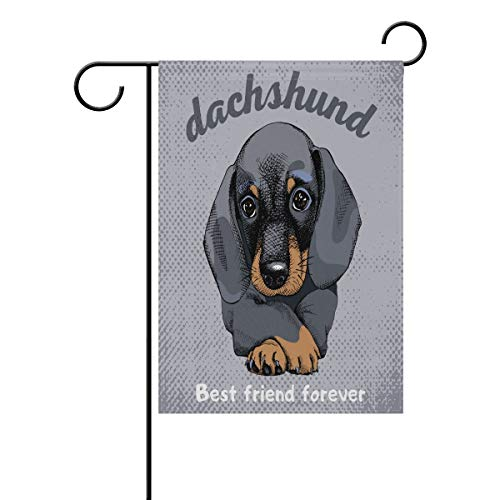 UIJDIAm Vintage Portrait of Dog Dachshun Polyester Garden Flag House Banner 12X18 inch, Two Sided Welcome Yard Decoration Flag for Wedding Party Home Decor