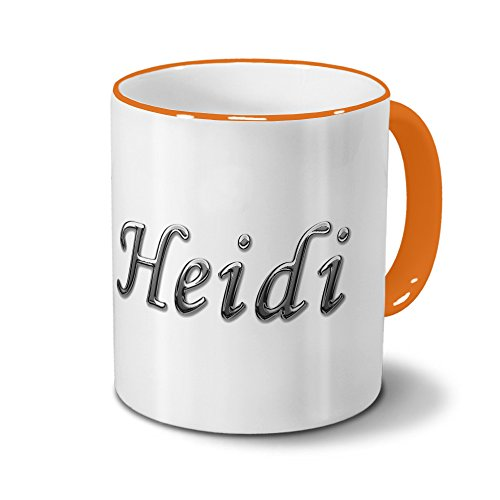 Tasse mit Namen Heidi - Motiv Chrom-Schriftzug - Namenstasse, Kaffeebecher, Mug, Becher, Kaffeetasse - Farbe Orange