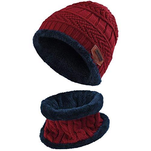 HIDARLING Barn varm stickad mössa hatt och cirkel scarf set fleece foder dödskalle keps