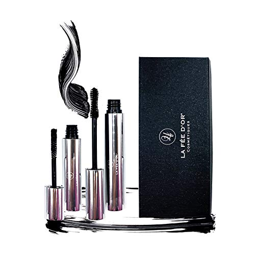 Mascara Wimperntusche von LA FÈE D'OR  - Ultra Volume False Lashes - Verwöhne deine Wimpern mit unserer 3D Collagen Natural Fiber Extensions Mascara - Extremes Volumen