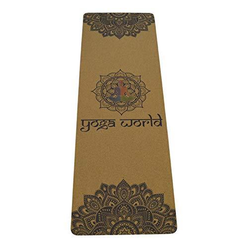 Yoga World Mandala Yoga Mat, antideslizante, parte inferior de goma TPE, suave gruesa duradera, equipo de ejercicio para pilates y en casa cojín ecológico biodegradable, 72 x 24 pulgadas (multicolor)