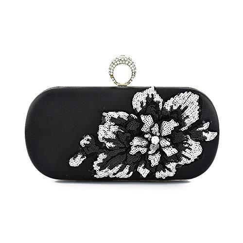 LLUFFY-Damen Clutch handtasche Banketttasche Schulter Messenger Bag Dreidimensionale Parkett Diamant Hand Ring Party Tasche für Party, Tanz, Braut Hochzeit, Party, schwarz