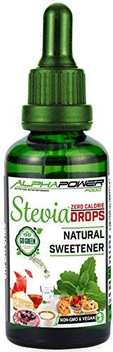 ALPHAPOWER FOOD, Stevia liquide vegan, gouttes de stevia pure - très concentré (Unflavored/sans goût, 1 x 100 ml). édulcorant stévia naturelle, Liquid Stevia Sweetener Drops