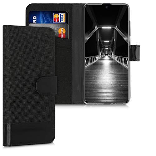kwmobile Wallet Hülle kompatibel mit Samsung Galaxy A51 - Hülle Kunstleder mit Kartenfächern Stand in Anthrazit Schwarz