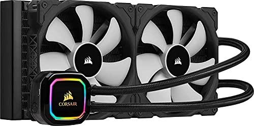 Corsair iCUE H115i RGB PRO XT CPU-Flüssigkeitskühlung (280-mm-Radiator, Zwei 140-mm Corsair ML PWM-Lüfter, 400-2.000 RPM, Dynamischer Multi-Zone-RGB-Pumpenkopf, Einfach Einzubauen) Schwarz