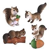 AEM Home Decor Miniatur Fee Garten Dekoration 4pcs / Set Schöne Eichhörnchen Familie Modell...