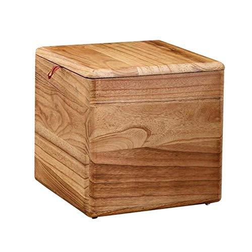 ZBYY Hocker Holz Sitzhocker Mit Stauraum Fußhocker Make-up-Hocker Massivholz Für Schlafzimmer Wohnzimmerflur 28 * 28 * 28cm
