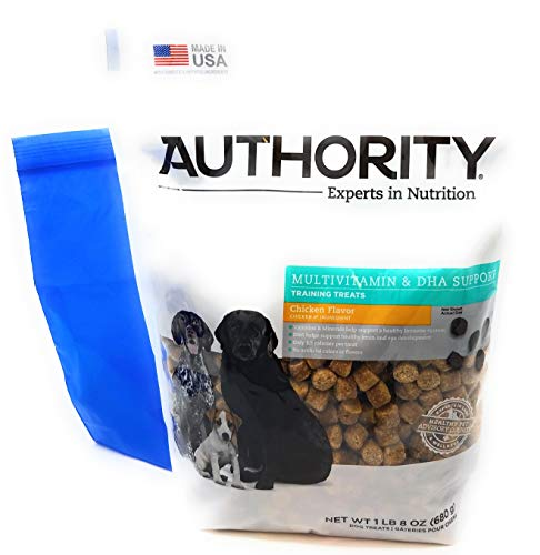Authority Multivitamin and DHA Support Training Treats (Chicken) and Tesadorz Resealable Bags