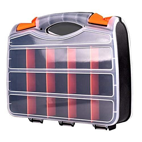 Organizador de 30 compartimentos de doble cara, caja de herramientas con polímero resistente a los impactos y plástico extraíble personalizable