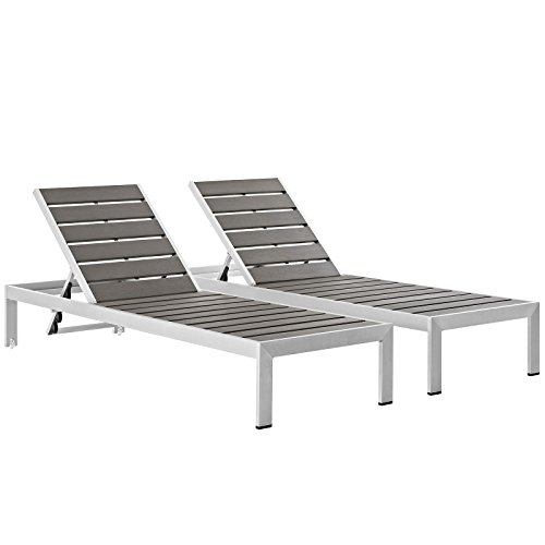 Modway Shore Aluminum Outdoor Patio Poolside Two Chaise Lounge Chairs in Silver Gray