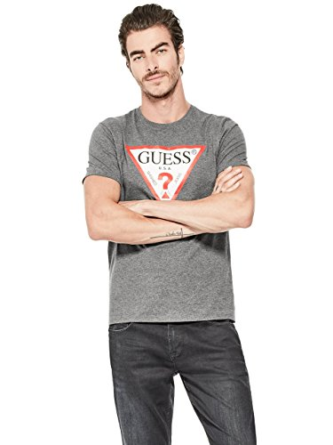GUESS Men's Classic Triangle Logo Tee, Jet Black, Large
