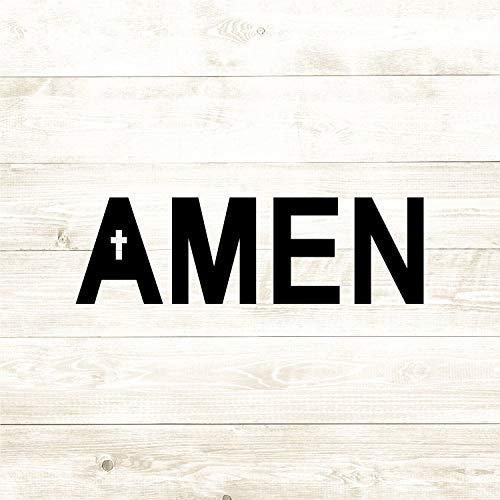 43LenaJon Adhesivo de vinilo para ventana de Amen Cruz, Religión Jesús Cristiano – Adhesivo impermeable para coche