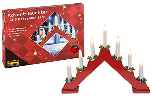 Idena 8582030 Adventsleuchter aus rot lackiertem Holz mit 7 Kerzenlichtern, inklusive Ersatzlampe, Anschlusskabel mit Schalter, ca. 40 x 30 cm