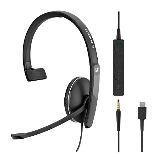 Sennheiser SC 135 USB-C (508355) - Single-Sided (Monaural) Headset for Business Professionals | with HD Stereo Sound, Noise-Canceling Microphone, & USB-C Connector (Black)