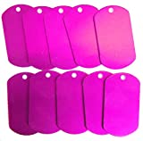 Spoilt Rotten <span class='highlight'>Pets</span> Anodised Aluminium PINK Blank Pet Identity Tags x 10 Small Military ArmyTag Shaped Job Lot <span class='highlight'>Wholesale</span> Blanks For Engraving & Stamping