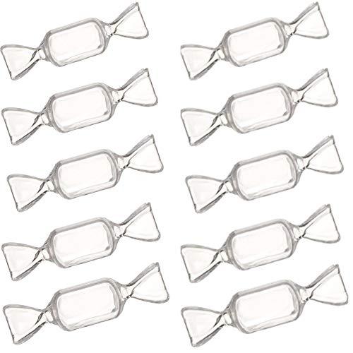 10 piezas de acrílico transparente Mini cajas de almacenamiento de joyería con forma de caramelo contenedor de joyería de viaje organizador estuche para collar pendiente anillo accesorios