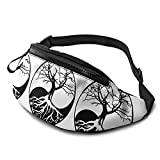 Sac de Taille Yin Yang Bonsai Tree Print Fanny Pack, Unisex Workout Waist Pack Bag - Waist Bag with Adjustable Strap for Fitness Jogging Hiking Travel.