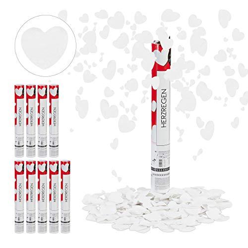 Relaxdays 10 x Party Popper mit Herzen, 6-8 m Effekthöhe, Hochzeit & Verlobung, Papierkonfetti, Konfettikanone 40 cm, weiß