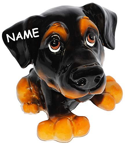 alles-meine.de GmbH Spardose - Hund - Dackel / Dobermann / Rottweiler - incl. Name - stabile Sparbüchse aus Kunstharz - Hundewelpe - Comic Hunde / Hundeschule - Sparschwein - LUS..
