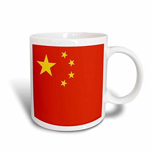 3dRose Flagge der Völker Republik China. Chinese Red mit Golden Gelb Sterne Patriotische Welt-Land Tasse, Keramik, weiß, 11,43x 8,45x 12,7cm
