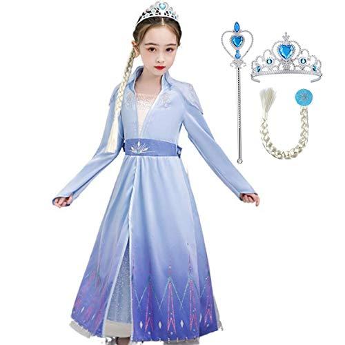 Fanessy Elsa Snow Queen Costume Girl Blue Long Sleeve Print Vestido Fiesta de Halloween Cumpleaños Prom Cosplay Disfraz de Varita mágica Corona Trenza Falsa