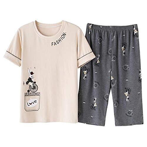 Conjunto de Pijama de Manga Corta para Mujer, Ropa de Dormir de algodón de Verano, Ropa de Dormir de Dibujos Animados, Cuello Redondo, Bonito tamaño Grande M-XXL, Pijama para Mujer