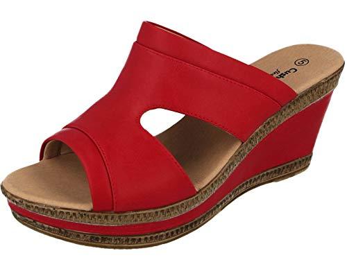 Cushion Walk Damen-Sandalen, Leder, gefüttert, Peep-Toe, mittlerer Keilabsatz, Slipper, Größe 36-42, Rot - rot - Größe: 40 EU