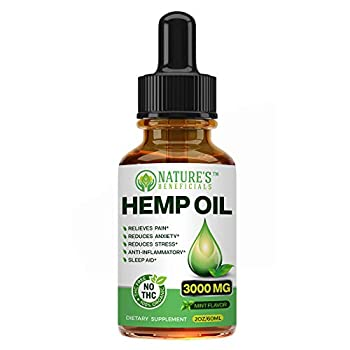 Organic Hemp Oil Extract Drops 3000mg - Ultra Premium Pain Relief Anti-Inflammatory Stress & Anxiety Relief Joint Support Sleep Aid Omega Fatty Acids 3 6 9 Non-GMO Ultra-Pure CO2 Extracted