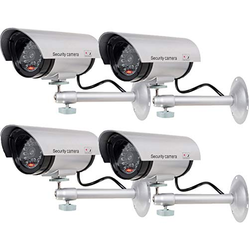 WALI Bullet Dummy Fake Surveillance Security CCTV Dome Camera Indoor Outdoor with one LED Light...