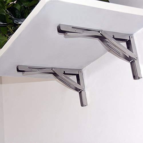 Wall-Mounted Heavy Duty Stainless Steel Folding Shelf Bench Table Bracket 660lb/300kg Load 2 Pieces Long Release Arm… (14 Inch)