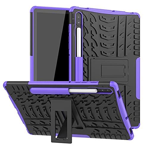 ZHIWEI Tablet PC Bag Coperchio Tablet per Samsung Galaxy Tab S6 10.5 / T860 Trama Pneumatico TPU Antiurto TPU + Custodia Protettiva PC con Supporto per Manico Pieghevole (Color : Purple)