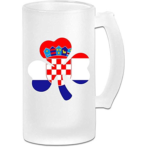 Kroatische vlag Shamrock Frosted glas Stein bier mok, pub mok, drank mok, geschenk voor bier Drinker, 500Ml (16.9Oz)