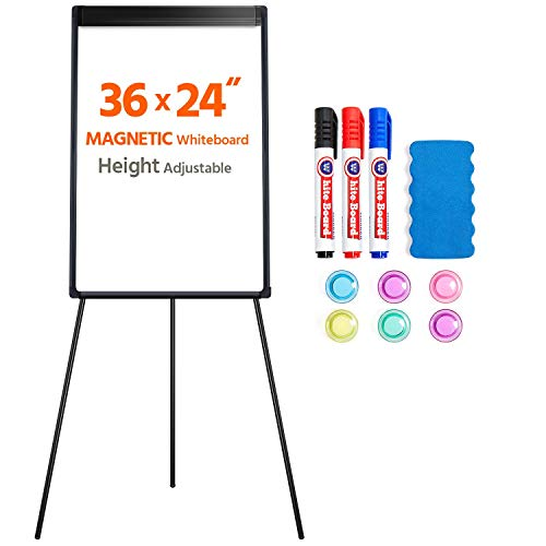 Yaheetech Portable Tripod Magnetic Whiteboard 36 x 24 Height Adjustable Dry Erase Board White Board Easel Black