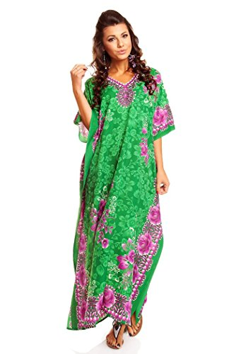 Túnica caftán para mujer, tamaño largo verde verde 52-56