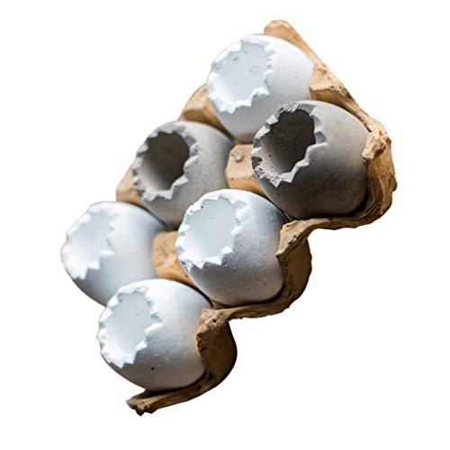 YARNOW 7 Unids Macetas de Plantas Suculentas Diseño de Huevos Bonsai Contenedor Macetas de Hormigón Macetas Suculentas con Bandeja