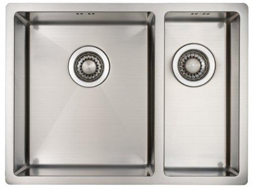 Lavello da Cucina in Acciaio Inossidabile Mizzo Design 34-18   Lavandino a Incasso, Filotop o Sottotop   Base 60cm   Spessore 1.2mm   Una Vasca e Mezza in Acciaio Inox 590 x 444 mm   Raggio Interno da 10 mm