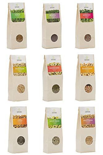 Bio Keimsprossen Set 9 Sorten Alfalfa, Brokkoli, Radieschen, Mungbohnen, Buchweizen, Linsen, Kichererbsen, Hafer, grüne Erbsen