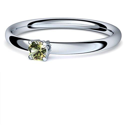 Weißgold Ring Peridot 750 + inkl. Luxusetui + Peridot Ring Weißgold Peridotring Weißgold (Weißgold 750) - Concinnity Amoonic Schmuck Größe 60 (19.1) AM161...