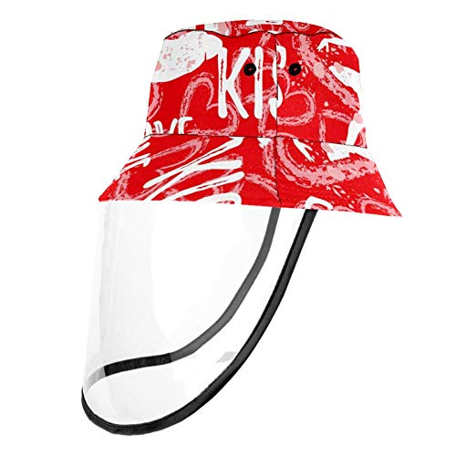 Kids Summer Play Hat UPF 50+ Bucket Travel Hat Removable Sun Cap for Boys and Girls - Abstract Ballerina Lips Love Heart Pattern