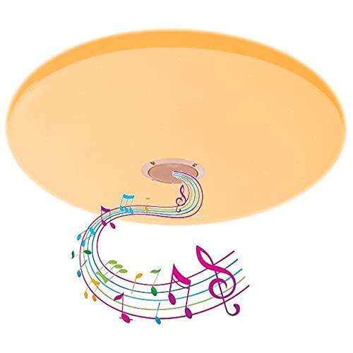 LED Inteligente Plafón Con Altavoz Bluetooth,40Cm Lámpara De Techo De Música De Baño,Aplicación Y Control Remoto,Lámpara De Suspensión Regulable RGB 72W Para Fiesta, Cocina, Dormitorio