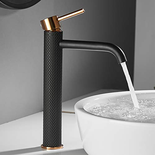 TIMACO Wasserhahn Bad Waschtischarmatur Einhebel-Mischbatterie Badarmatur Waschbecken Badezimmer Kaltes und Heißes Wasser Vorhanden,Schwarz und Gold