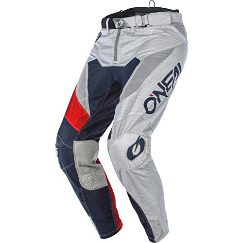 O'NEAL | Motocross-Hose | MTB Enduro MX | Extrem langlebiges & leichtes Design für maximalen Komfort & Schutz, Bündchenlose Hosenbeine | Airwear Pants Freez | Erwachsene | Grau Blau Rot | Größe 30/46
