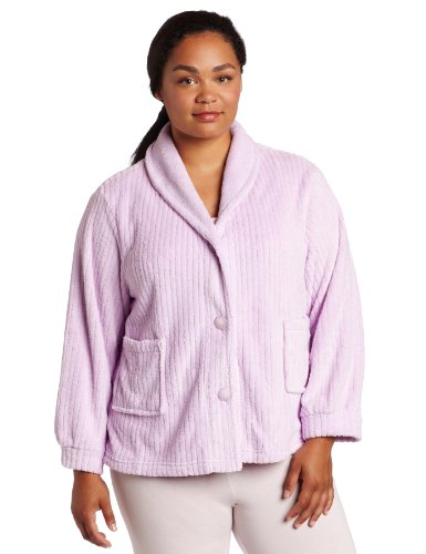 Casual Moments Women's Plus Size Shawl Collar Bed Jacket, Lilac, 3X