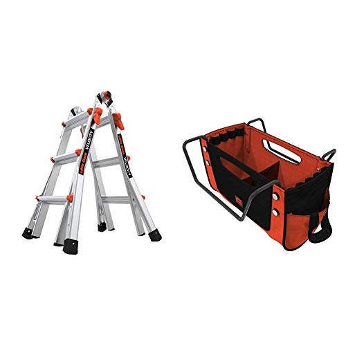 Little Giant Ladders, Velocity, M13, 13 Ft, Multi-Position Ladder, Aluminum, Type 1A, 300 lbs Weight Rating and Little Giant Ladders, Cargo Hold, Ladder Accessory, Fabric