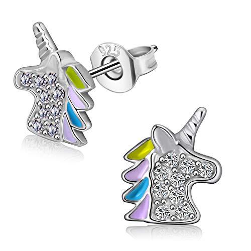orecchini in oro bambina Orecchini da bambina in argento 925 con unicorno