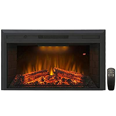 Valuxhome Electric Fireplace, Electric Fireplace Heater Insert with Overheating Protection, 36 Inches Wide 21 Inches High with Fire Crackling Sound, Remote Control, Thermostat, 750/1500W, Black