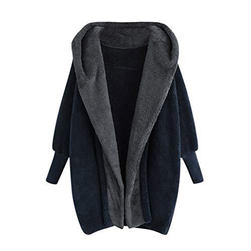 TOWAKM Outwear,Frauen T Shirt Mantel Winter Warmes PlüSch Taschen Baumwollmantel