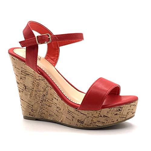 Angkorly - Damen Schuhe Sandalen Pumpe - High Heels - Folk/Ethnisch - Böhmen - String Tanga - Basic - Kork Keilabsatz high Heel 12 cm - Rot 660-10 T 39