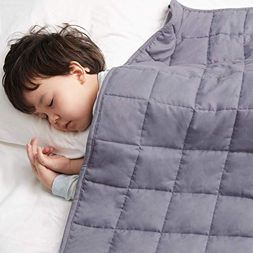 ROSMARUS Child Weighted Blanket Kids Heavy Breathable Toddler Throw Blanket Premium Comfortable Cotton with Glass Beads (Grey, 36 x 48 inch, 5 lbs)